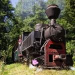 Calea ferata forestiera cu ecartament ingust de la Comandau si locomotiva care circula pe aceasta